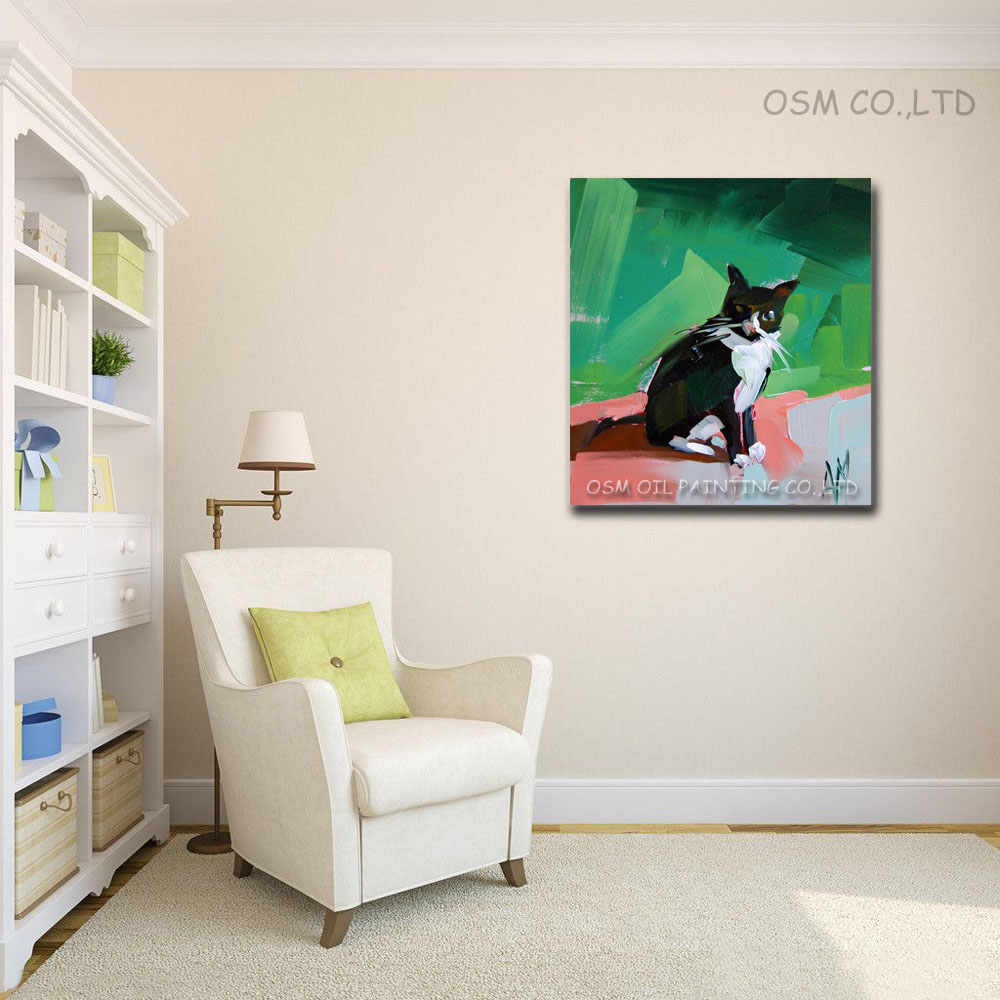 Best Price High Quality Modern Abstract Oil Painting On Canvas Animal Picture Cat Oil Painting Wall Art Decor Handmade Paintings