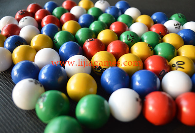 Picture of multi colored plastic bingo balls