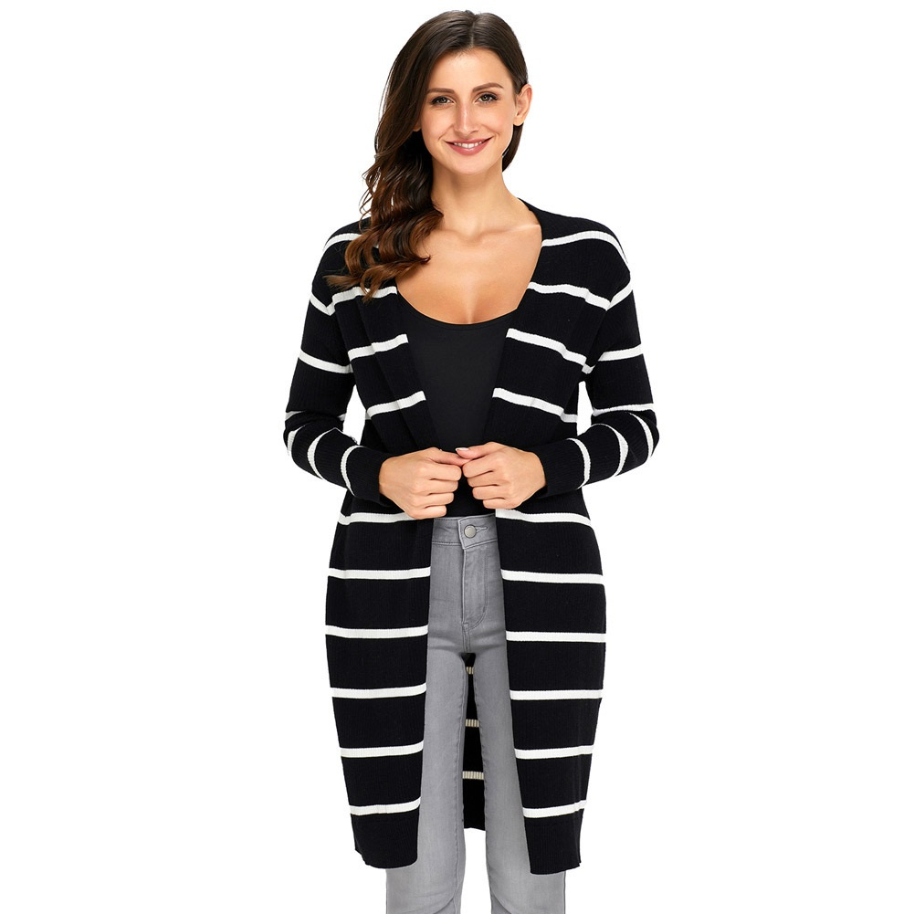 Womens long sweaters open front with striped fashion casual coat ...